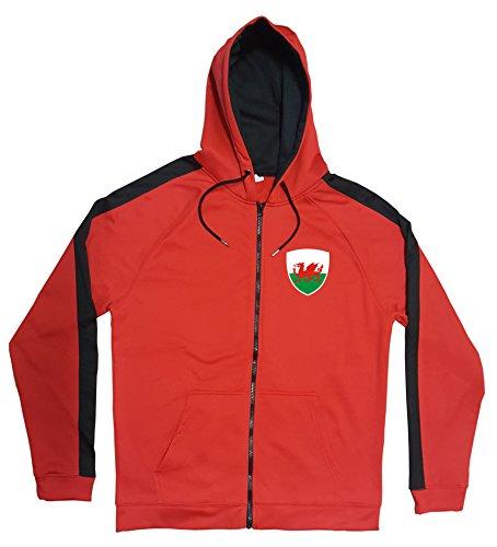 Aprom-Sports Wales Jacke Sweater Rot JA GO Wales Trikot Look Zip Nation Fussball Sport (2XL)