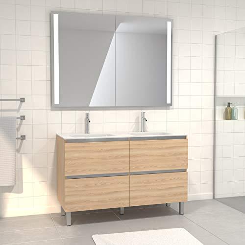 Aurlane Pack Meuble de Salle de Bain 130x50 cm Chêne Blond + Vasque Blanche + Miroir Double à LED