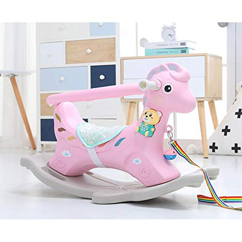 Fikujap Rocking Horse, Baby Riding Animal Blue/Pink,Ride on Toy for 1-3 Year Old, Girl Boy Rocking Animal Outdoor, Nursery/Infant/Child Christmas,Pink