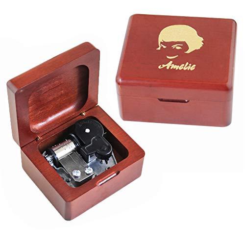 Youtang Caja de música Amelie de madera tallada con mecanismo de cuerda para regalo mucial para Navidad, cumpleaños, día de San Valentín