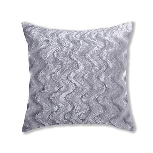Fundas de almohada de felpa de estilo simple, cuadradas, súper suaves, fundas de cojín, fundas de almohada creativas para el hogar, decoración para sofá, cama, silla (gris, 43 x 43 cm)