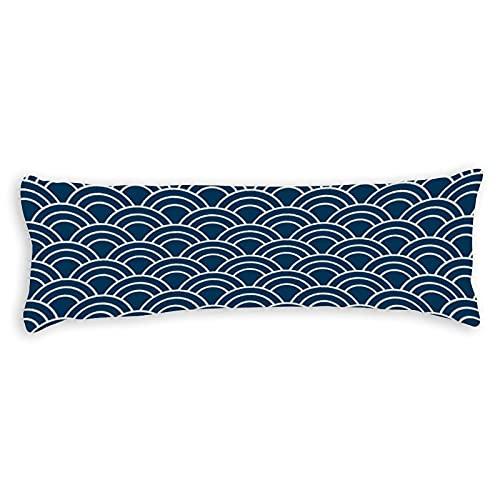 Promini Funda de almohada moderna con diseño de vieira, color azul japonés, con cierre de cremallera oculta, para sofá, banco, cama, decoración del hogar, 50,8 x 137,2 cm