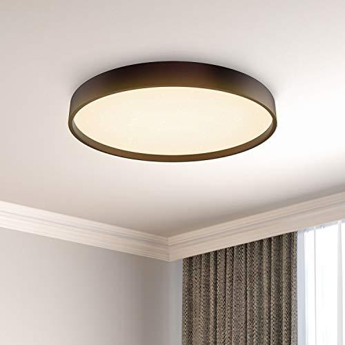 36W Plafones LED Techo Anten NIGHTSKY | Ø39cm 3000-6500K Retro Marrón | Lampara Regulable con Mando a Distáncia | para Salón Dormitorio, Oficina, Comedor, Cocina, Balcón