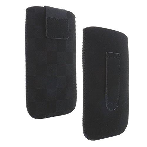 Handytasche mit Ausziehhilfe Größe XL passend für Doro 5516 - Primo 366 581 - Nokia 230 - Sony Xperia X Compact / Z1 Compact / Z3 Compact / Z5 Compact / XZ1 Compact - Handy Hülle schwarz