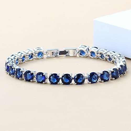 Department store Eye-Catching Blue Zircon High material Silver Color Link Chain Jewelry Overlay