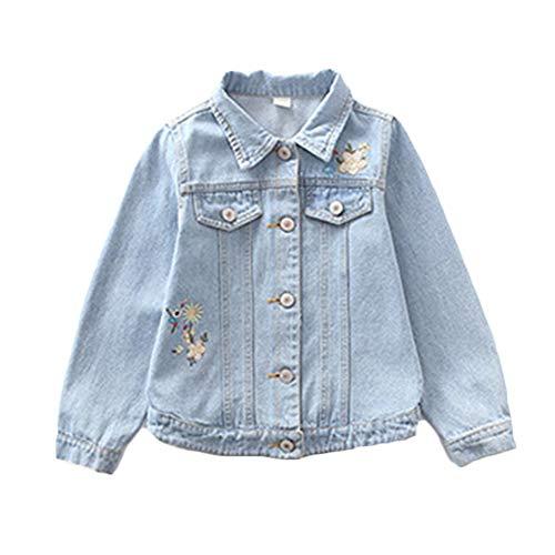 QitunC Kinder-Jeansjacke Lichtfarbe Freizeit Leichtgewicht Stickmuster Mädchenmantel Jeansjacke Hellblau 160CM