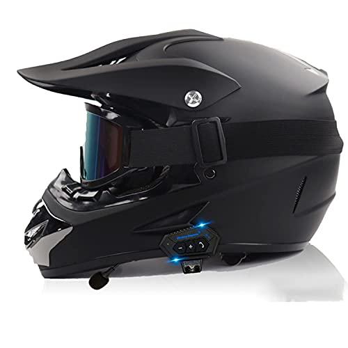 NZGMA Casco de Moto de Cara Completa con Bluetooth, Casco de Moto de Motocross para niños y Adultos para Quad Dirt Bike Outdoor Cross Country Race Sport, Aprobado por Dot/ECE D, XL