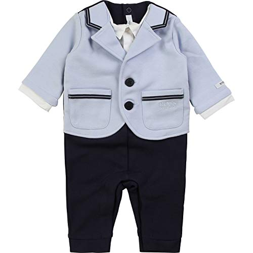 Hugo Boss Baby All in One Milano Anzug Hose Shirt Sakko in einem Teil hellblau Marine Groesse 9 Monate