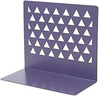 Yiherone Alloy Triangular Hollow Desktop Organizer Bookends Support Stand Holder Shelf Bookrack Place Office Supplies(Blue) New (Color : Purple)