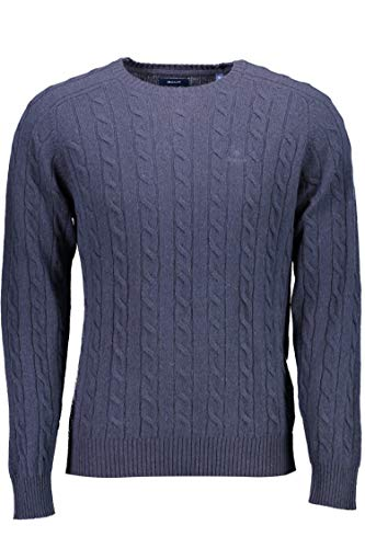 Gant 8050076-433 Lambswool Cable Crew Pullover Uomo Girocollo a Coste Blu Navy 100% Lana Regular Fit (XXXXL, Blu Navy)