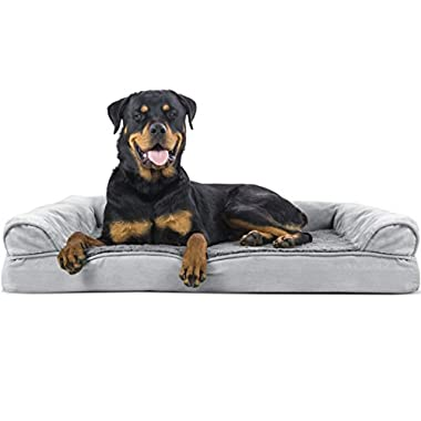 Furhaven Pet Dog Bed   Orthopedic Ultra Plush Sofa-Style Couch Pet Bed for Dogs & Cats, Gray, Jumbo