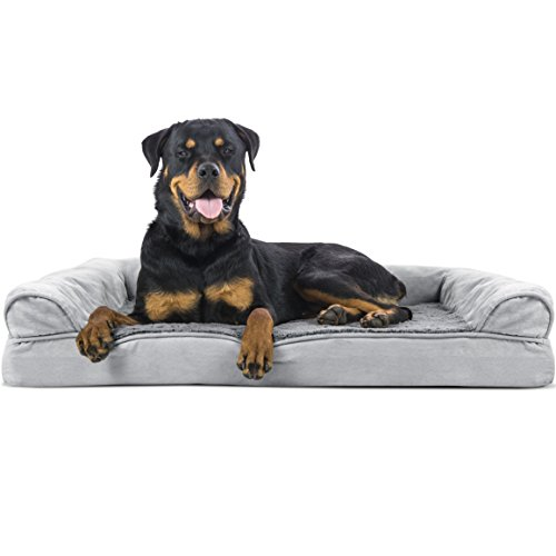 Furhaven Pet Dog Bed - Orthopedic Ultra Plush Faux Fur and Suede Traditional Sofa-Style Living Room Couch Pet Bed with Removable Cover for Dogs and Cats, Gray, Jumbo
