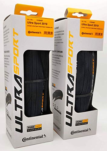 Continental Ultra Sport III 700x25 Black/Black Folding PureGrip - Pair (2 Tires)