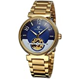 Forsining Famous Skeleton Watches Brand Luxury Men's Blue Dial Auto Gold Mechanical Wristwatch
