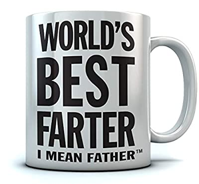 World's Best Farter, I Mean Father Coffee Mug Christmas, Father's Day Gift for Dad, Grandpa, Husband From Son, Daughter, Grandson, Granddaughter, Wife Birthday Gift for Men Ceramic Mug