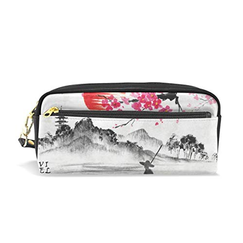 Nature Pouch Purse for Student Girl Boy Kids Vintage Japanese Traditional Painting Pencil Case Cosmetic Makeup Bag Zipper Pen Stationary Bag