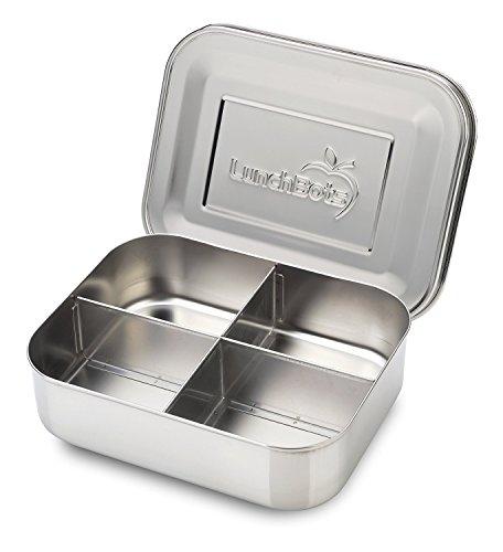 LunchBots Quad Edelstahl Nahrungsmittelbehälter – Vier Abschnitt Design Perfekt für gesunde Snacks, Beilagen oder Finger Foods – Umweltfreundlich, Spülmaschinenfest und BPA frei – Komplett Aus Edelstahl