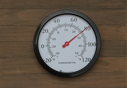 Product Image 3: Bjerg Instruments 12″ Steel Enclosure Decorative Indoor/Outdoor Patio Wall Thermometer (Black)