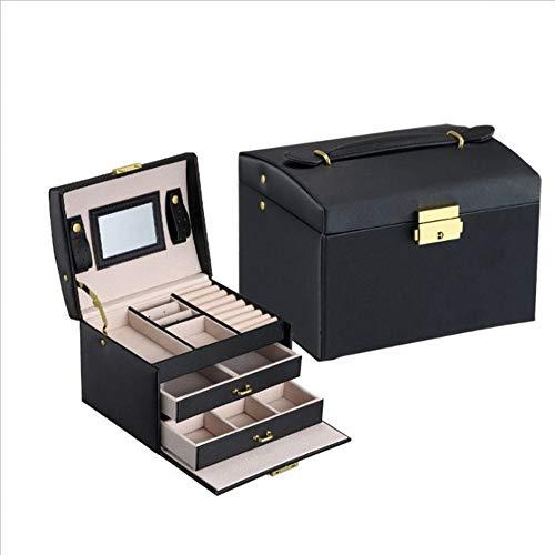 Zhicaikeji Estuche cosmético ligero para mujer, caja de almacenamiento de joyas para artículos pequeños, bolsa de almacenamiento firme PortBle (color: negro)