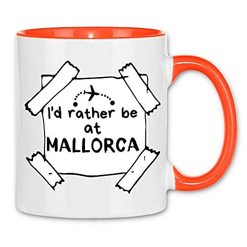 Print Dynastie Taza Prefiero estar en Mallorca Vacation Beach Travel, Color:White Orange