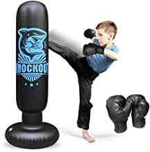 Inflatable Kids Punching Bag with Stand, Punching Boxing Bag with Gloves, Freestanding Punching Bag for Adults