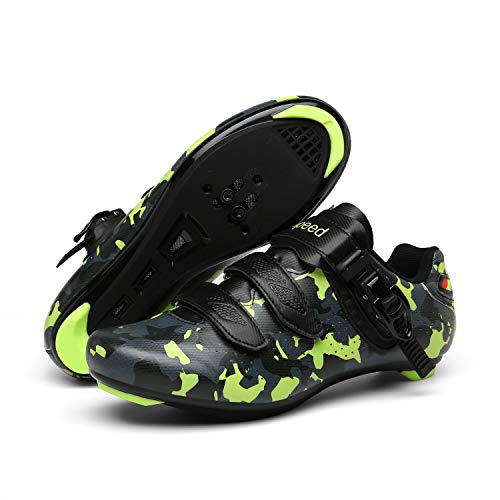 Men's Cycling Shoes Road Bike Shoes with Look Delta Cleat for Lock Pedal Spin Shoes for Road Peloton Indoor Bike Camouflage Green