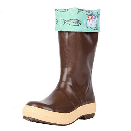 "XTRATUF Salmon Sisters Legacy Series 15"" Fish Print-Lined Neoprene Women's Fishing Boots, Copper & Tan (22390)"