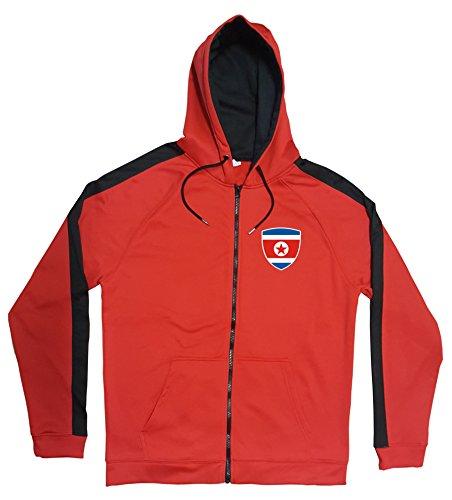 Nordkorea Jacke Sweater Rot JA GO North Korea Trikot Look Zip Nation Fussball Sport (L)