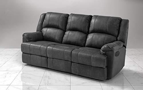 Dafne Italian Design Sofá de 3 plazas con 2 reclinadores eléctricos. Piel...