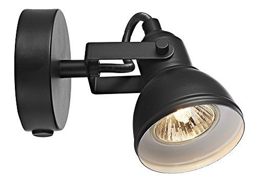Uniek industrieel ontworpen matzwart geschakeld wandspotlicht
