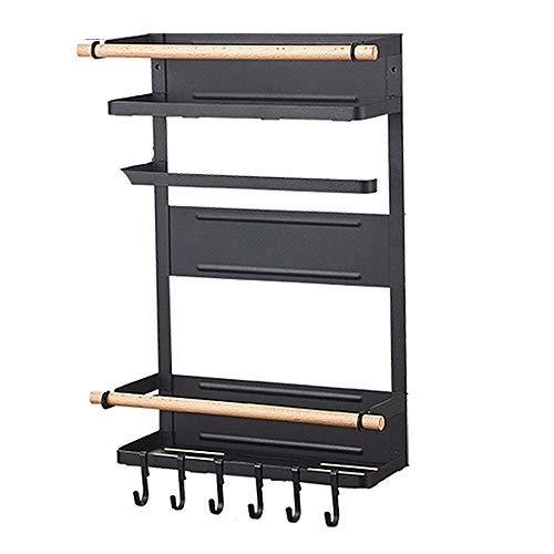 ZHWDD Keuken Rack, Magnetische Koelkast Organizer, Multi Gebruik Koelkast Side Opslag Plank met 6 Verwijderbare Mobiele Hooks, Roestvrij Spice Jars Rack