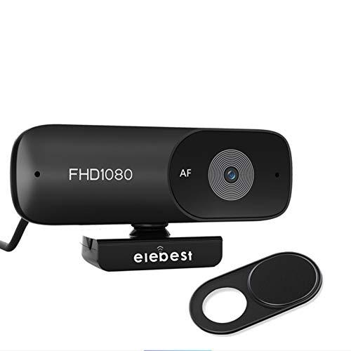 HXCH Cámara web de red de enfoque automático 1080p, gran angular integrado con cubierta de privacidad cámara USB para PC de escritorio y portátil, videollamadas, conferencias