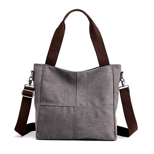 Women's Canvas Shoulder Bags Tote Purses Satchel Work Travel Crossbody Bag (Grey)