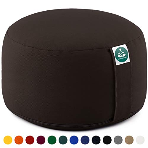 Present Mind Meditation Cushion Large Zafu Yoga - Extra High 20cm - Washable Cover - Floor Pillow (Brown)