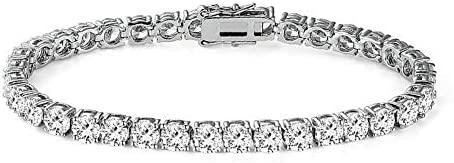 MDFUN 14k White Gold Plated 5 0 Cubic Zirconia Tennis Bracelet 7 5 inch for Men and Women 5mm product image