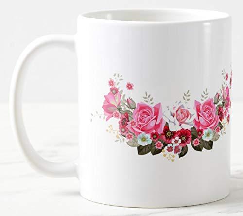 Taza de cerámica con diseño de rosas de 325 ml, con mango grande, se puede personalizar