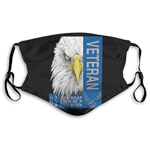 Veteran Us Air Force Pm2.5 Face Bandana Men Women 5-Layer Activated Carbon Filters Breathable Scarf Shield 2 Sizes M