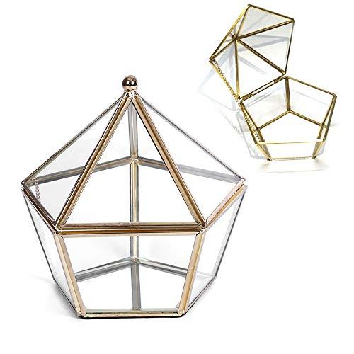 Schneespitze Glas Terrarium Box,Retro Transparent Schmuckschatulle,Geometrisches Glas Terrarium Box,Spiegeltablett Dekotablett,Kosmetik Organizer,Sukkulente Pflanzgefäß Deko,Glas Terrarium Box