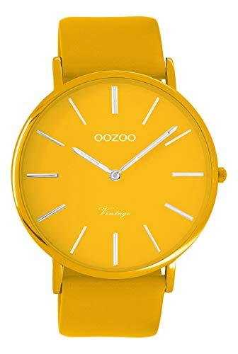 Oozoo Vintage Herrenuhr Colors of The Summer mit Lederband Flach 44 MM Senfgelb C9881