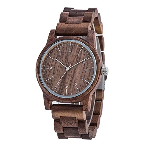 Relojes de Cuarzo de Madera para Hombre, Relojes de Pulsera para Hombre, Reloj de bambú de Madera para Hombre, Reloj de Madera para Hombre, marrón