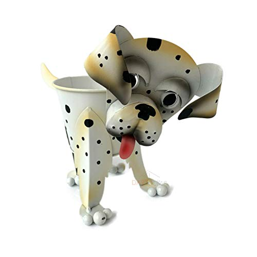 Metal Nodding Dalmation Puppy Dog Home Garden Flower Planter Plant Pot Holder A