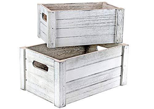 Holzkiste im Vintage - Used - Look - weiß im 2-er Set - Deko - Kiste - Stiege - Box - Präsentkorb leer