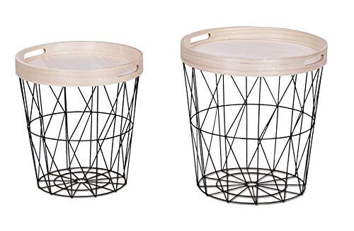 levandeo 2er Set Beistelltisch Metall Metallkorb Drahtkorb Schwarz Couchtisch Deckel Aufbewahrung Tablett Design Deko Tisch