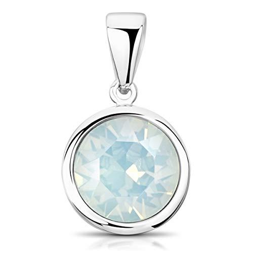 Materia Kristall Anhänger Swarovski Steine opal weiß - 925 Silber Kettenanhänger rund klein Damen Mädchen ka-462-weiß