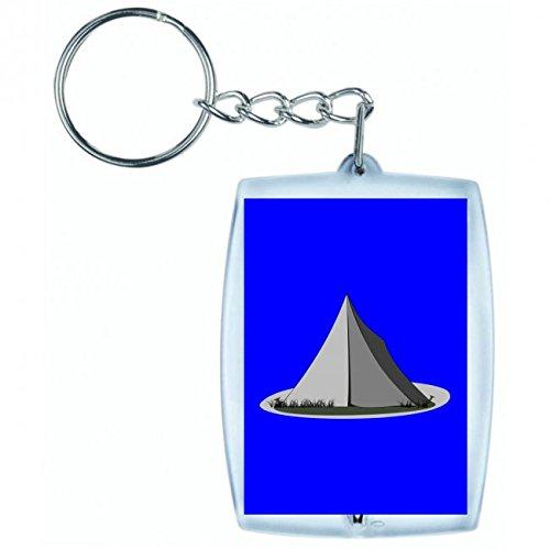 Druckerlebnis24 - Llavero para camping, tienda de campaña, campaña, LEINWAND- IM FREIEN- Verano - vacaciones en azul | Llavero - Llavero - Llavero