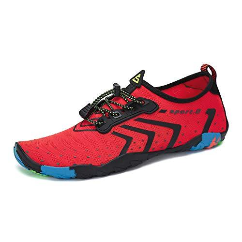 Unisex Water Shoes Quick-Dry Beach Swim Yoga River Red-Black 12.5 M US Women / 11 M US Men (45) by Mishansha