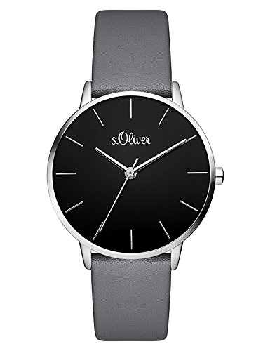 s.Oliver Damen Analog Quarz Armbanduhr mit Leder Armband SO-3528-LQ