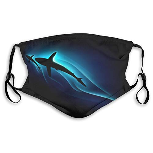 Colorful Black Horror Shark On Black Background Dust Face Mask Adjustable Mouth Mask Balaclava Bandanas With Filter Paper For Kids Teens Men Women S
