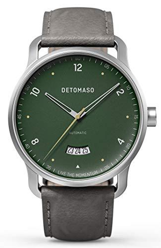 DETOMASO VIAGGIO Automatic Green Herren-Armbanduhr Analog Quarz Italienisches Lederarmband Grau