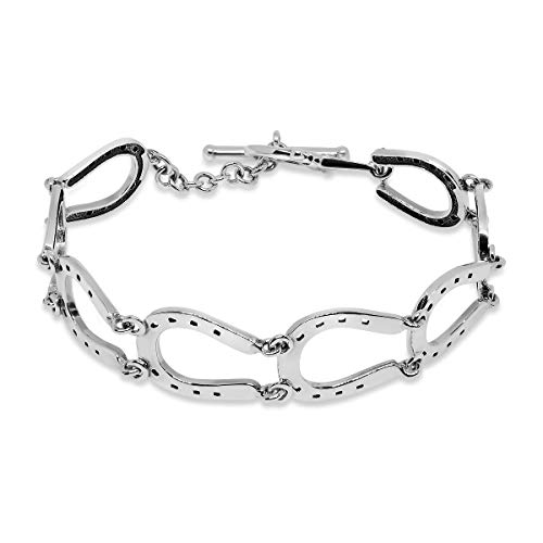 WithLoveSilver Sterling Silver 925 Charm 8 Horseshoes Stirrup Horse Equestrian Link Bracelets 7.5 Inches